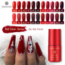 SAVILAND Rosso Serie Uv Del Gel Del Chiodo di Scintillio Soak Off Gel Per Unghie Lacca Bisogno di Base Opaca prodotti per superficie e smalti Primer, Base trucco Nails Art manicure(China)