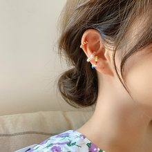MENGJIQIAO koreański mody kolorowe koraliki klipsy do uszu dla kobiet 3 sztuk/zestaw elegancka perła bez przekłuwania uszu fałszywe chrząstki ucha biżuteria