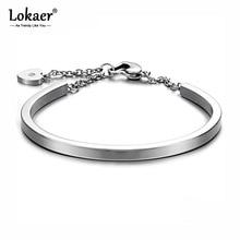 Bracelet Bangle Stainless-Steel Lokaer Jewelry Heart-Cuff Adjustable Women 4-Colors Chain