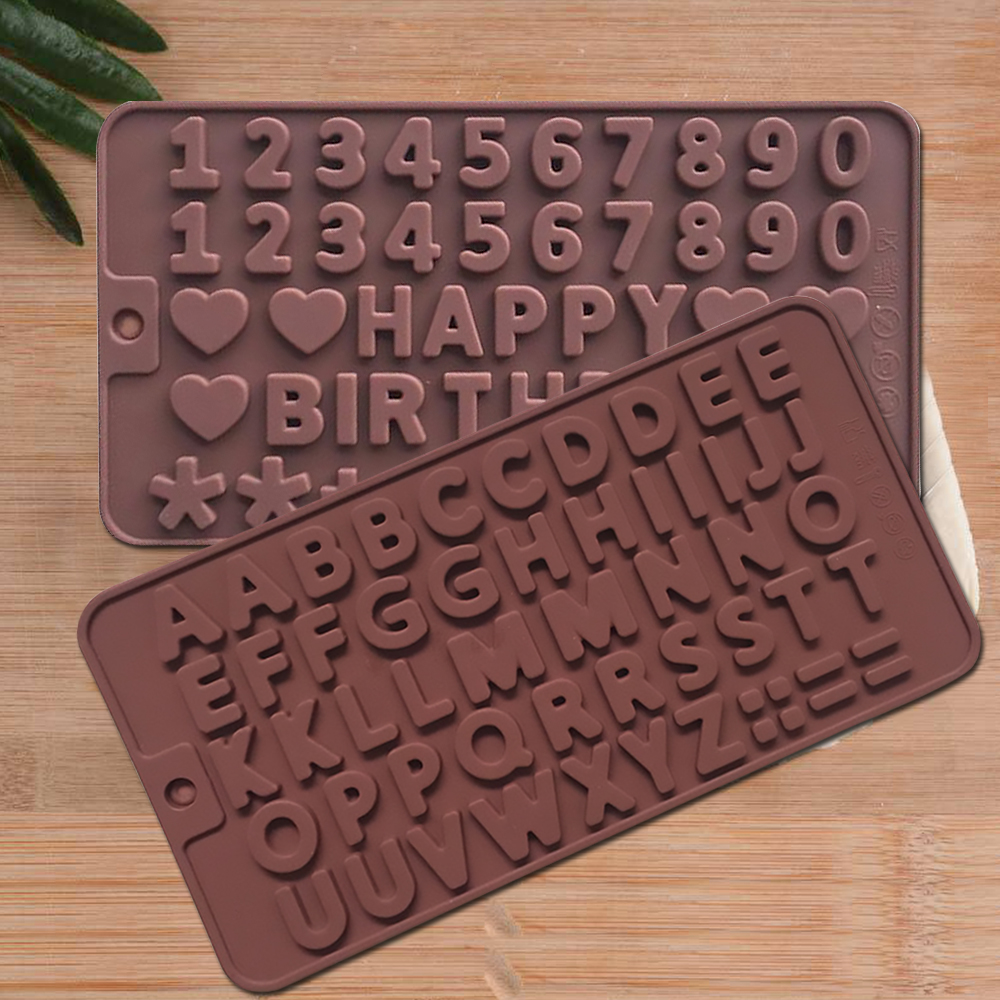 Silicone Chocolate Mold Letter / Number Fondant Molds Cookies Bakeware Tools Cake Decorating Tools Baking Accessories