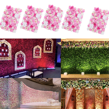 5 Pieces Artificial Flower Wall Panels Wedding Venue Background Decoration Hot Pink
