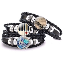 Steampunk Musical Instrument Piano Guitar Clarinet Flute Music Black Leather Bracelet Music Note Jewelry for Men Birthday Gifts m obiols divertimento for flute clarinet and piano