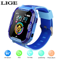 LIGE 2019 new kids GPS tracker watch 4G smart watches GPS LBS WIFI location SOS call 1.44 'camera kids tracking clock Baby gift