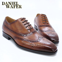 LUXURY BRAND MEN OXFORD SHOES CLASSIC STYLE HANDMADE GENUINE