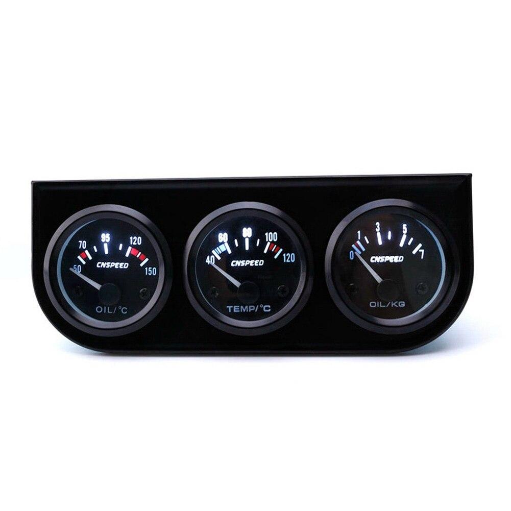 2 & #039 € 039; 52mm LED רכב 3 ערכת מד טמפ מים + שמן לחץ + וולט מתח מד