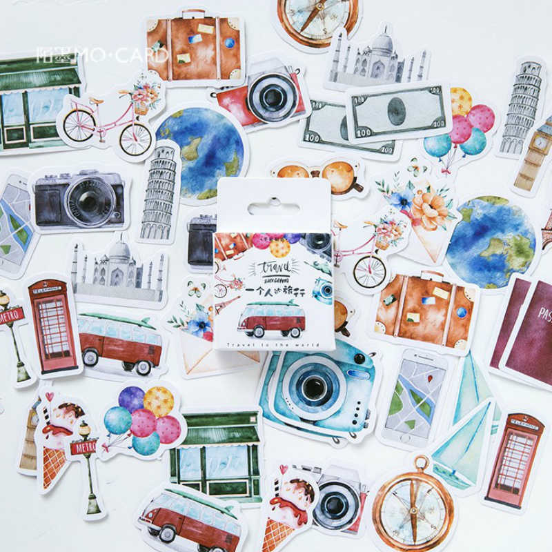 40Pcs/Pack Lonely Travel Stationery Stickers Doodling Travel DIY Sticker Car Motorcycle Luggage Laptop Bike Scooter Toys