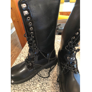 Image 4 - OUDINIAO bottes militaires pour hommes, bottes militaires hautes, bottes de Combat, mi mollet, chaîne métallique, moto Punk, printemps chaussures pour hommes, Rock