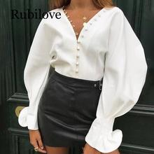 Rubilove Lantern sleeve blouse women long sexy v neck blouses Autumn button solid white shirt Elegant ladies workwear top