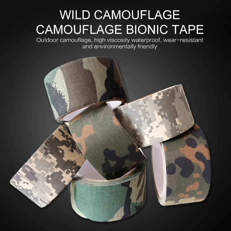 5M Army Camo Tape Outdoor Hunting Shooting Blind Wrap Camouflage Stealth Tape Waterproof Wrap Durable Camping Elastic Tape