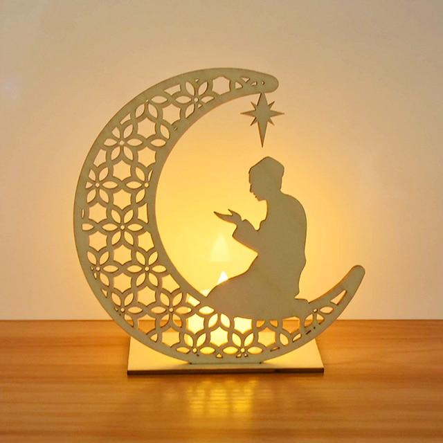 EID Mubarak Wooden Pendant with LED Candles Light Ramadan Decorations For Home Islamic Muslim Party Eid Decor Kareem Ramadan 4