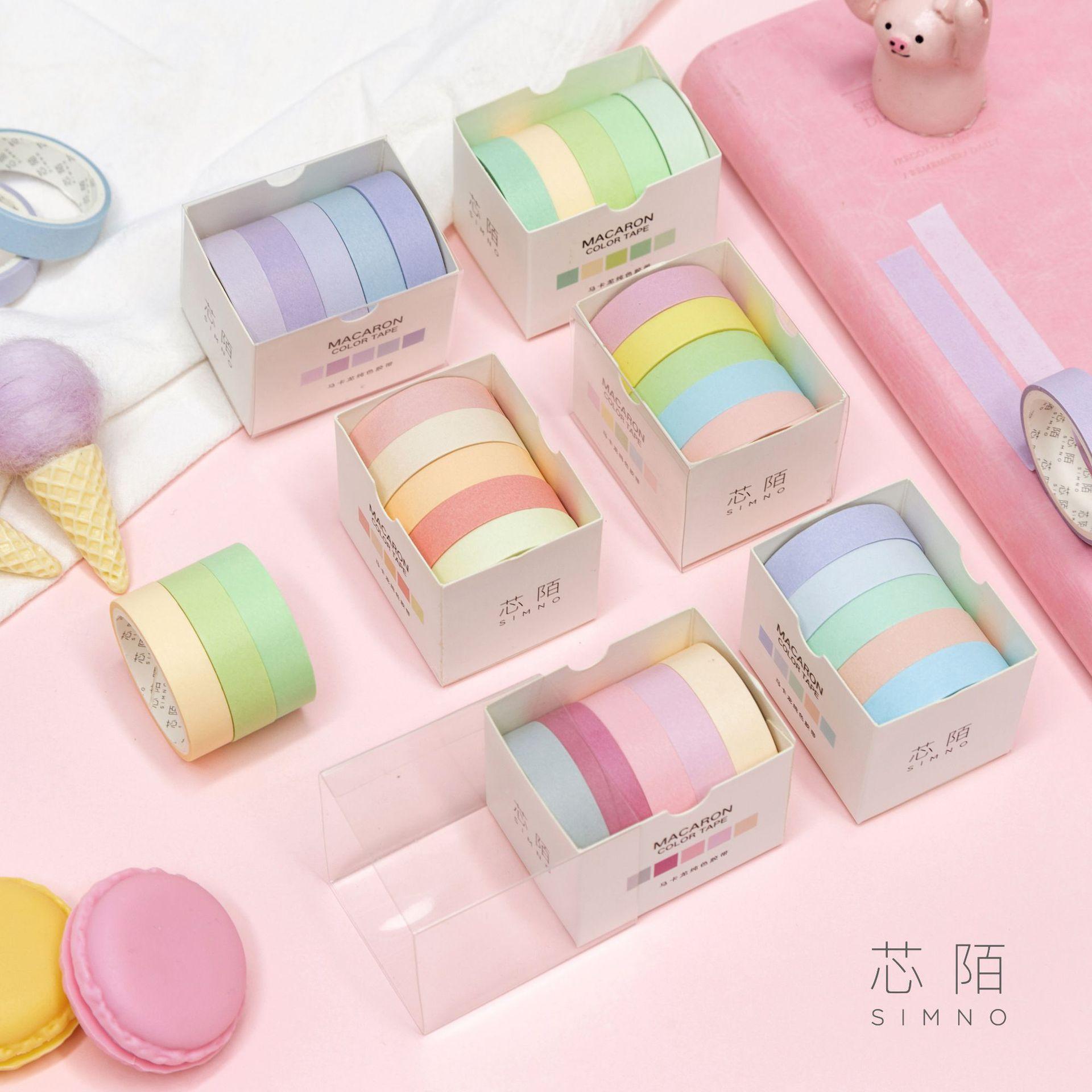 5 Pcs/pack Pure Macaroon Color Base Decorative Washi Tape Set DIY Scrapbooking Masking Craft Tape School Office Supply