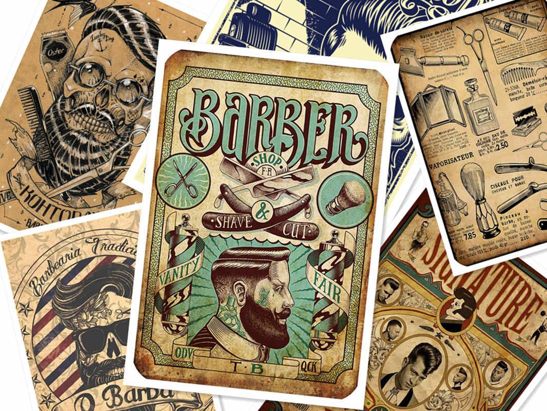 Retro Kuafor Dovmeler Desenli Kraft Kagit Afis Berber Dukkani Dekor Berber Aletleri Tiras Kuafor Duvar Cikartmalari 30x42 Cm C Resim Ve Hat Aliexpress