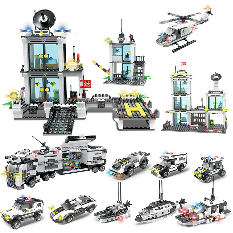 554-858pcs City Police Series N in 1 Hot Style Vehicle Car Helicopter Staction Building Blocks Compatible With LegoED