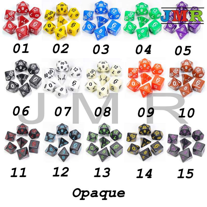 Hot Sale High Quality Black With Green Ink Color 7pc/lot Opaque Dice Set D4,D6,D8,D10,D10%,D12,D20 Polyhedral Dice Set Dnd Rpg
