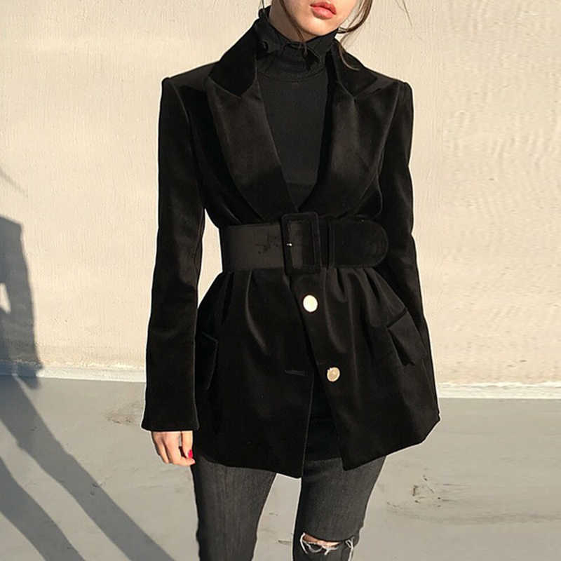 Women's Outwear Black Blazer Single Breasted Full Sleeve Solid Notched Regular Length Sashes Korean Winter