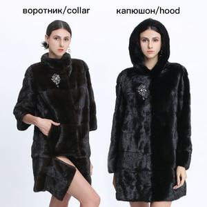Image 4 - Véritable fourrure vison manteau femmes hiver vison manteaux femme naturel fourrure manteau véritable vison fourrure veste dames surdimensionné détachable Long noir