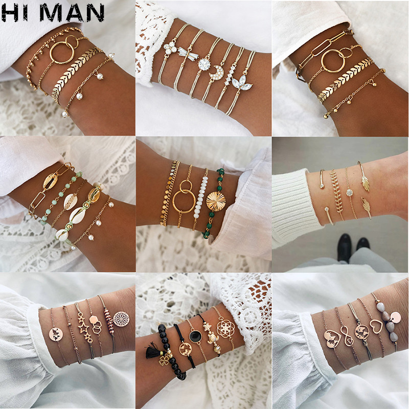 31 Styles Boho Mixed Leaves Letter Map Geometric Crystal Infinity Pentagram Shell Multi-layer Chain Bracelet Women Wholesale(China)