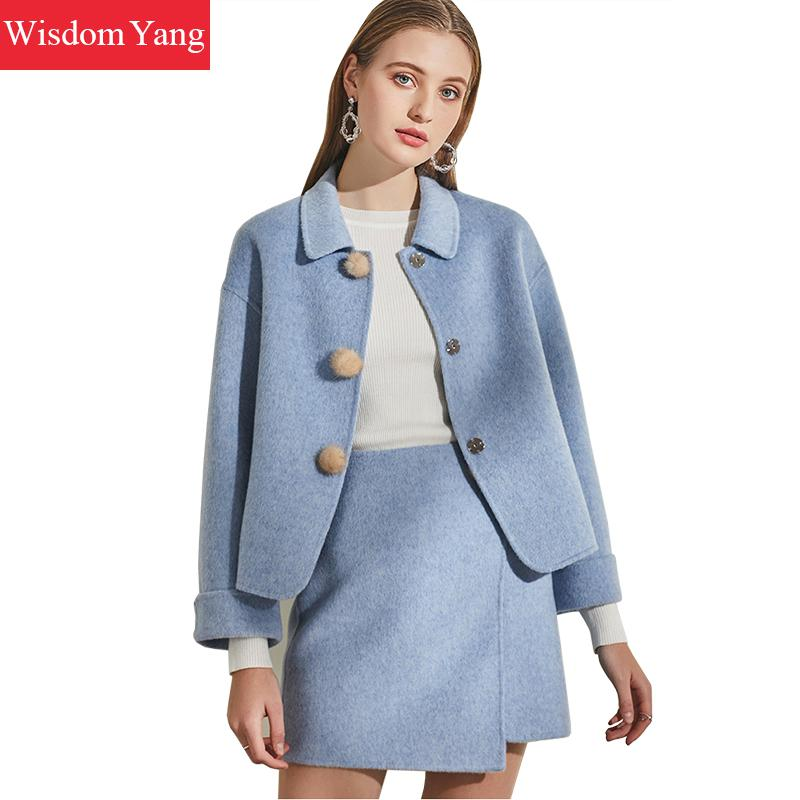 2 Piece Set Winter Coat Women Suit Blue Pink Khaki Wool Coats Womens Laides Overcoat Korean Woolen Mini Skirt Outerwear Clothes