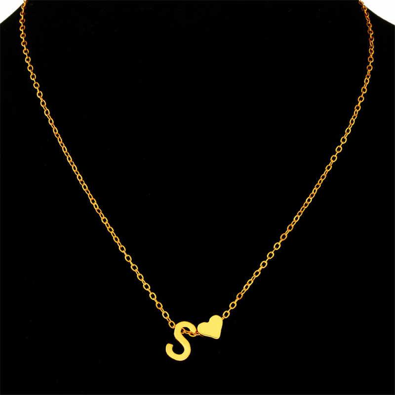 Moda małe serce Dainty początkowa spersonalizowana nazwa listu Choker naszyjniki dla Wonmen złoty wisiorek urok łańcucha biżuteria dziewczyna Gif
