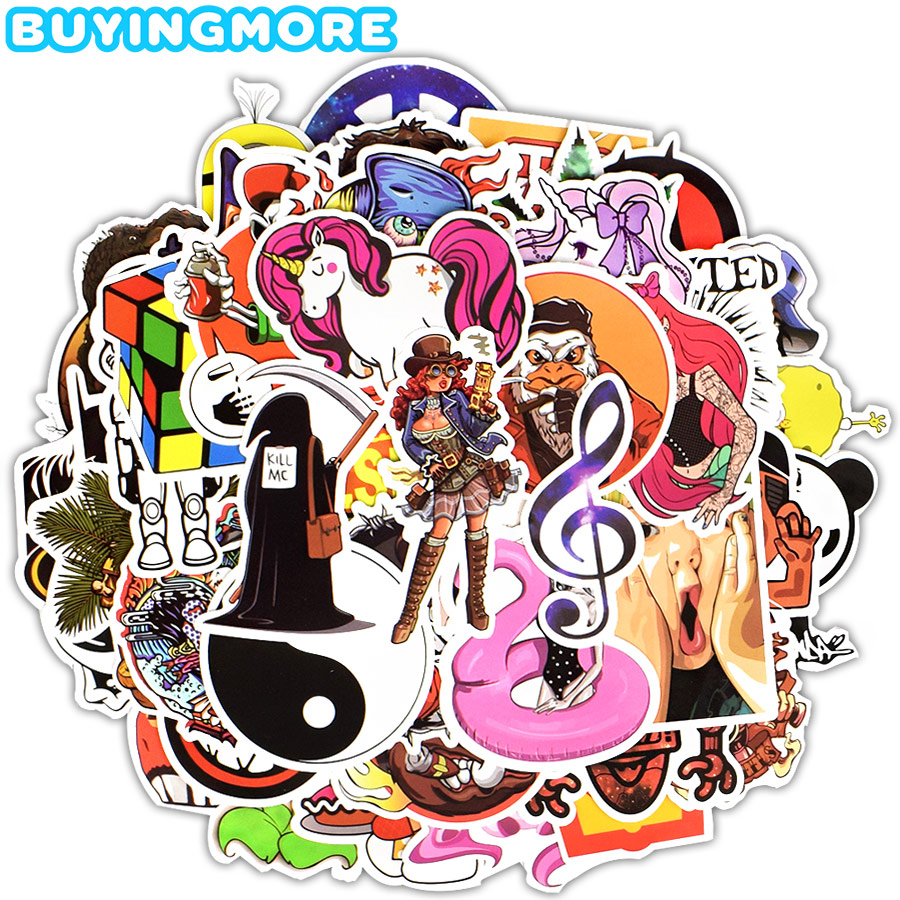 50 PCS Graffiti Punk Stickers JDM Funny Anime Cartoon PVC Stickers To DIY Laptop Guitar Skateboard Car Bike Notebook Suitcase