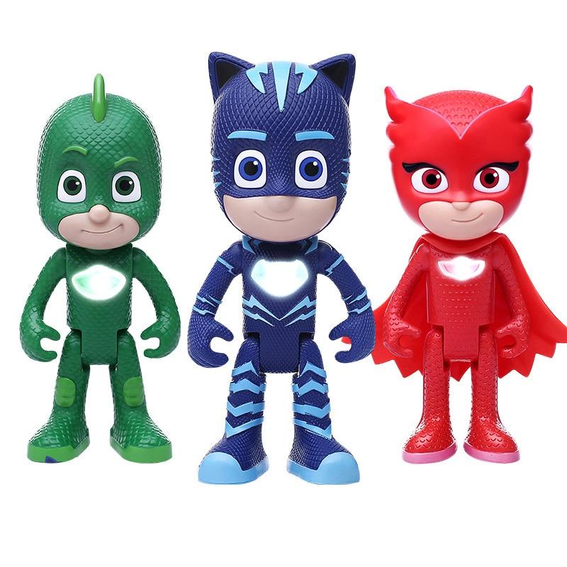 Pj Mask Cartoon Figure Juguete Catboy Owlette Gekko Button Emit Sound Light PJ Masks Figures Birthday Gift Toys For Children S32