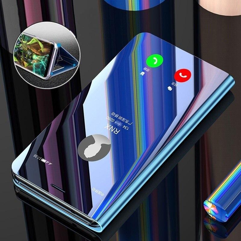 Luxe pour iPhone 11 Pro Max X XR XS 7 8 Plus brillant Miroir Flip étui en cuir sur Apple i Phone 6 6S couverture Miroir Coque Fundas
