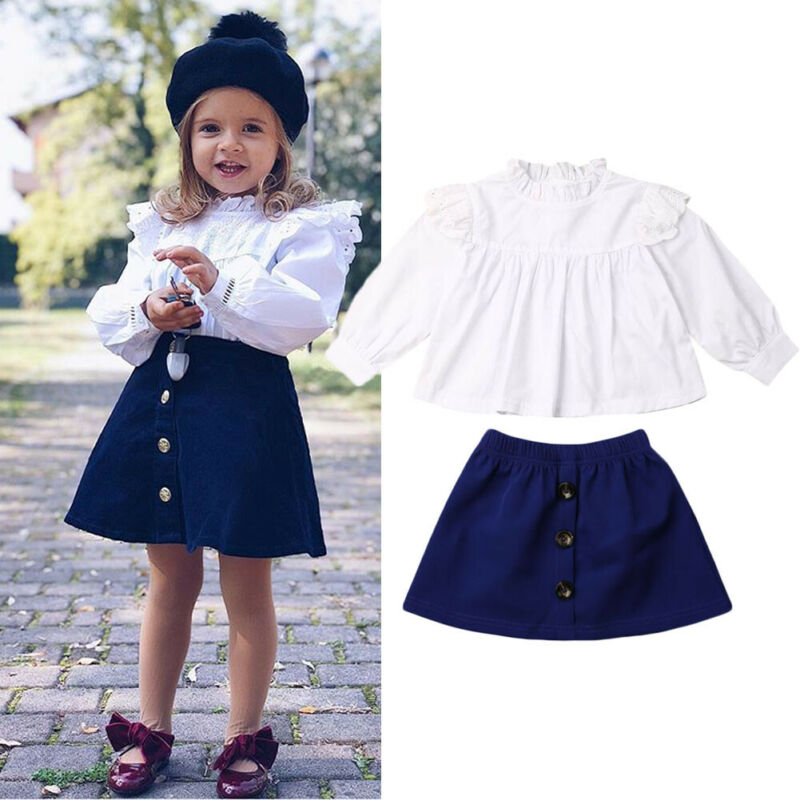 2Pcs Solid White Top Blue Ruffles Lace Strap Skirt Outfits Set for Little Girls Toddler Infant