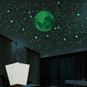 3D Bubble Luminous Stars Dots Wall Stickers Glow In The Dark Moon For Living Home Kid Room Wall Decoration Fluorescent Stickers(China)
