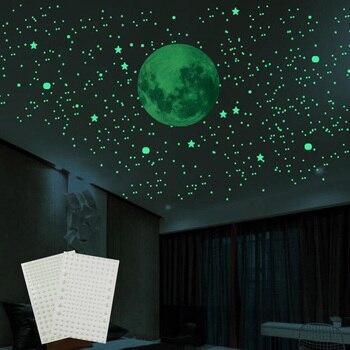 3D пузырь светящиеся звезды точки наклейки на стену светится в темноте Луна для дома стена детской комнаты украшения флуоресцентные наклейк...