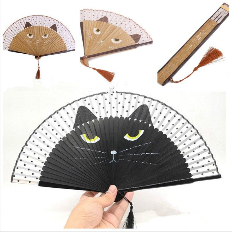 Glorious Vintage Bamboo Silk Hand Fan Cartoon Cat Painted Folding Fan Craft Home Decoration