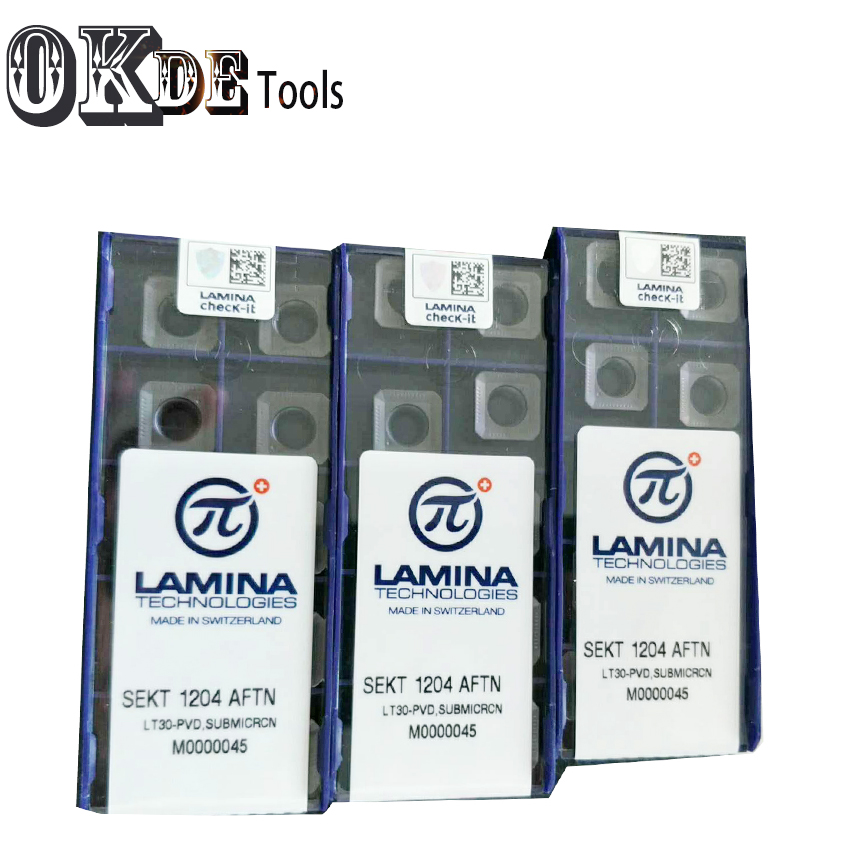 Купить с кэшбэком 10pcs SEKT1204 AFTN LT30 Milling cutter Carbide Inserts for indexable end stainless steel cutterCNC machine Use KM12 INSERT