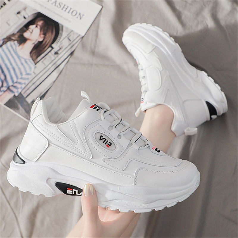 White Sneakers Women Leather Thick-soled Sports Shoes Woman Zapatillas Mujer Brand Wedgerunning Shoes Fashion Designers