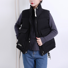 Short Vest Padded Jacket Outwear Oversized Big-Pockets Female Thick Winter Women's Cotton