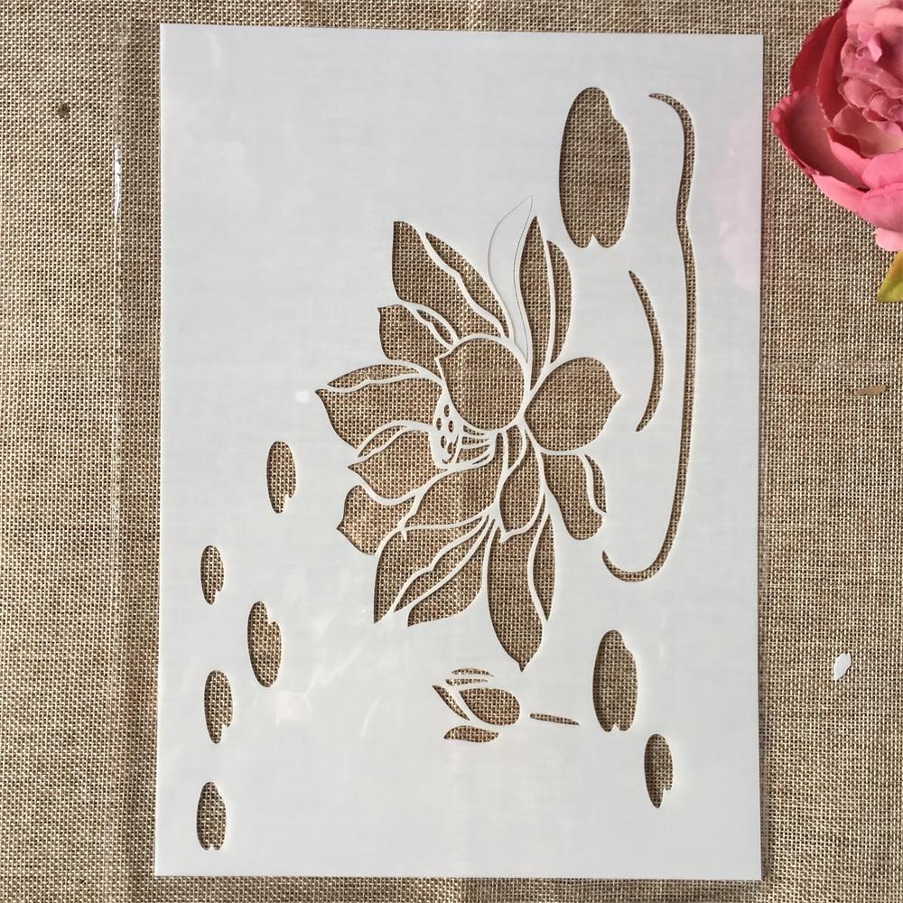 29cm A4 Lotus Pond II DIY Layering Stencils Wall Painting Scrapbook Coloring Embossing Album Decorative Template