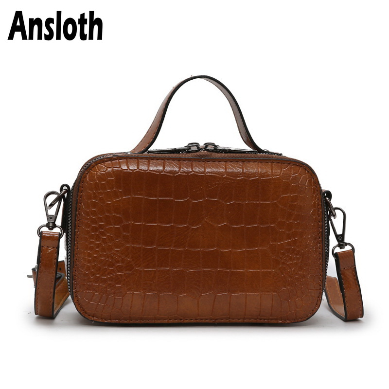 Ansloth Stone Pattern Crossbody Bag Women Classic Square Ladies Solid Color Shoulder Female Small Messenger HPS693