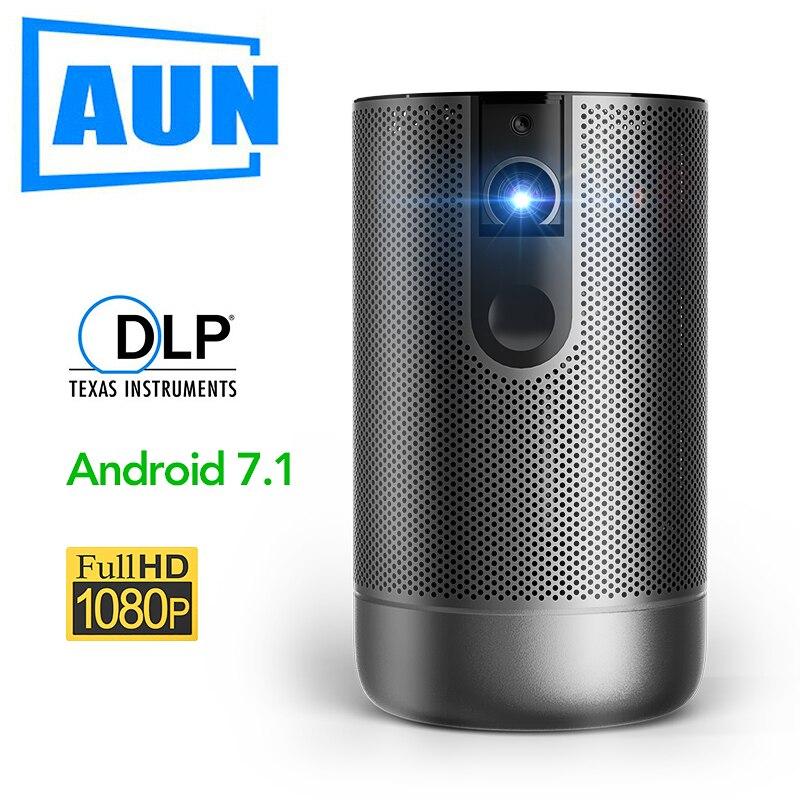 AUN Full HD Projektor D9, 1920X1080P, Android 7,1 (2G + 16G) WIFI Batterie, unterstützung Aktive 3D MINI Projektor, Video Beamer Für 4K.