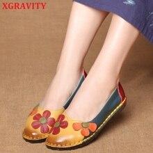 De despacho de alta calidad diseño de la flor del dedo del pie redondo de Color mixto zapatos planos zapatos Vintage de mujer de cuero genuino Floral para mujer mocasines