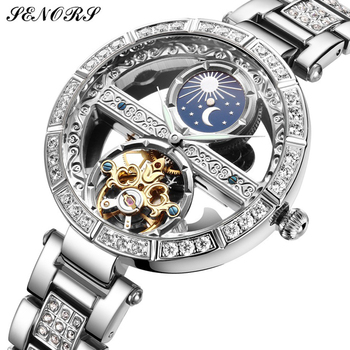 Top Brand SENORS Women Automatic Mechanical Watches Stainless Steel Fashion Hollow Self-Winding Wristwatch Ladies Luxury Clock 1