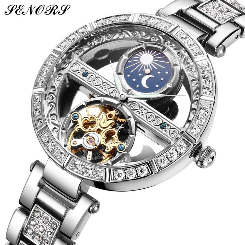 Топ бренд SENORS женские Автоматические механические часы из нержавеющей стали модные полые часы с автоподзаводом женские Роскошные наручные...