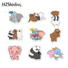 2019 Baru Akrilik Bros Gajah Beruang Bro Shrinky Dinks Acrylic Bros Baju Ransel Fashion Dekorasi Pins Aksesoris(China)