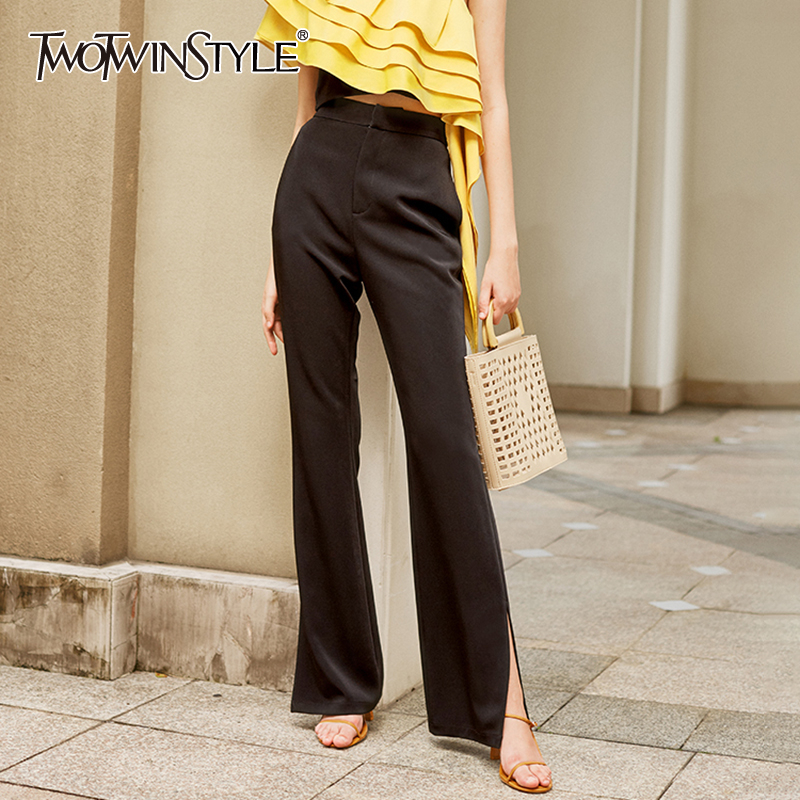 TWOTWINSTYLE Casual Loose Side Split Women Pants High Waist Elegant Flare Long Pant For Female Fashion Clothes 2020 Summer Tide