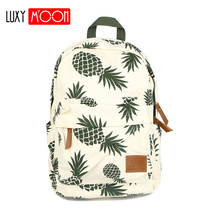 Vintage Fashion Pineapple Backpacks for Teenage Girls High Quality Canvas Laptop Backpack Fruit Prints Women Travel Rucksack