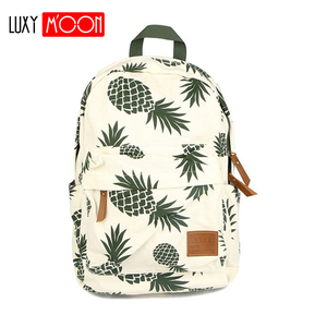 Image 1 - Vintage moda ananas gençler için sırt çantaları kızlar yüksek kaliteli kanvas laptop sırt çantası meyve baskılar kadın seyahat sırt çantası