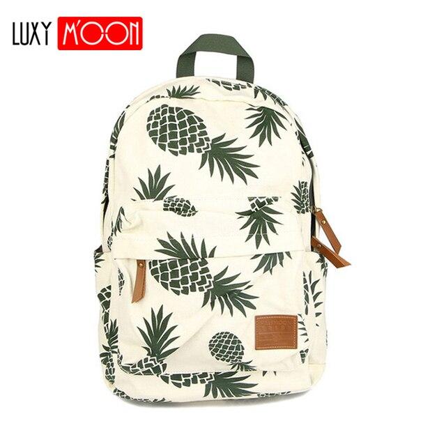 Vintage moda ananas gençler için sırt çantaları kızlar yüksek kaliteli kanvas laptop sırt çantası meyve baskılar kadın seyahat sırt çantası