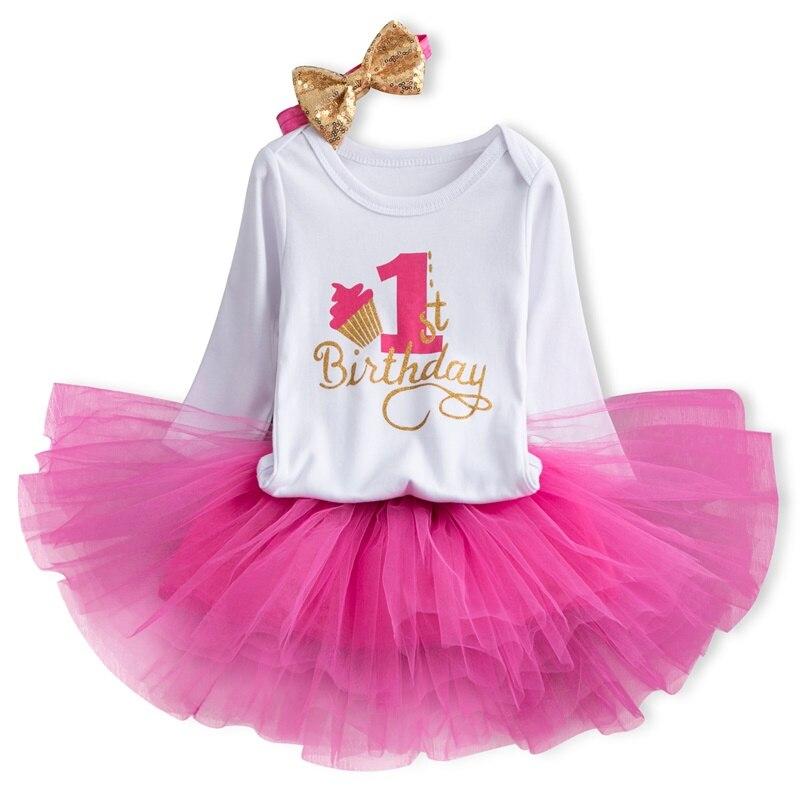 Vestido de aniversário do bebê de inverno manga longa vestido da menina do bebê recém-nascido 1st 1 ano roupas de aniversário batismo vestido da criança traje 12m