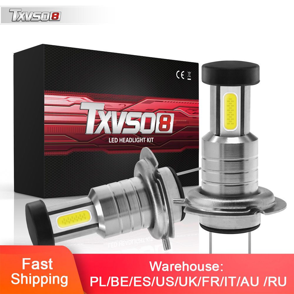 2pcs Car H7 LED Headlight Super Bright Car Fog Lights 12V 24V 6000K White Driving Running Led H7 Bulbs For Auto Automotive