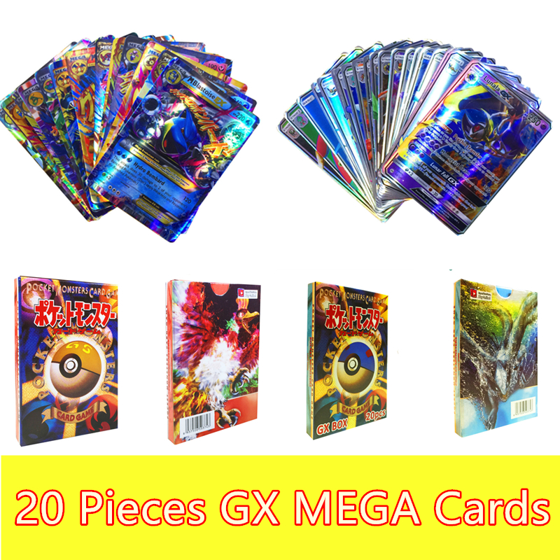 20Pcs/set GX MEGA Game English Shining Cards Anime Battle Carte Pokemon Toys Trading Card Paper Box Snorlax Eevee Monster Gifts