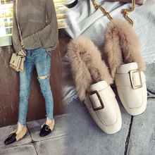 2019 Autumn and Winter New Square Buckle Fur Shoes Flat with Warm Peas Shoes Plus Velvet Fur Lazy Women's Shoes free shipping small size 2018 autumn imitation rabbit fur shoes tassel women s shoes flat single shoes pointed and velvet