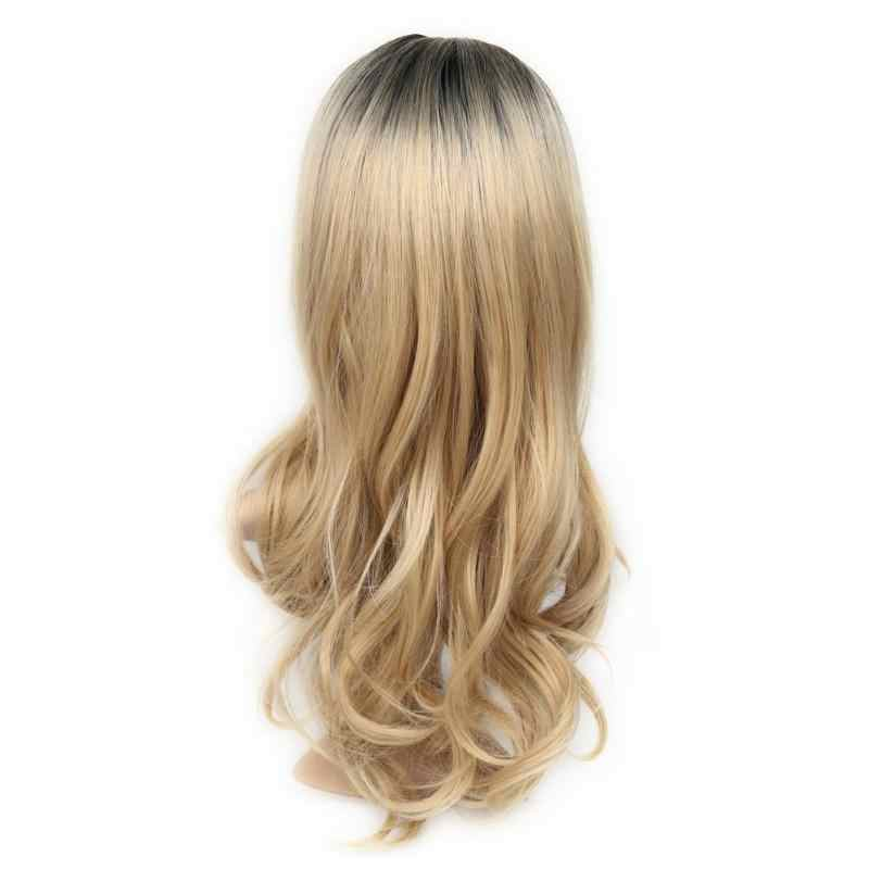 Chemical Fiber High Temperature Heat Resistant Synthetic None-lace Wig Two Tone Long Curly Hair Women Wig Cosplay Hair