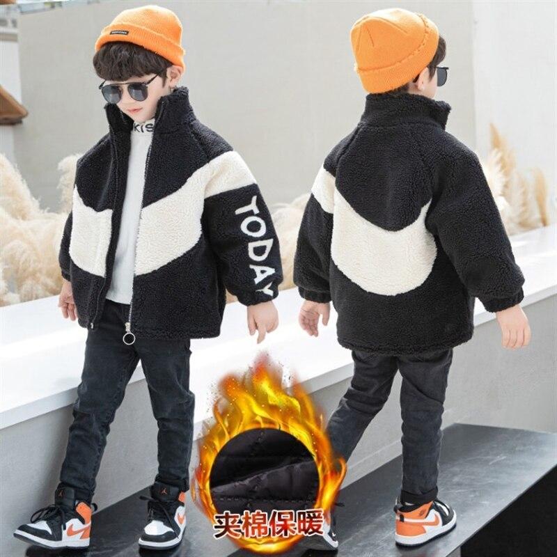 Детская одежда куртка на флисовой подкладке для мальчиков пушистый